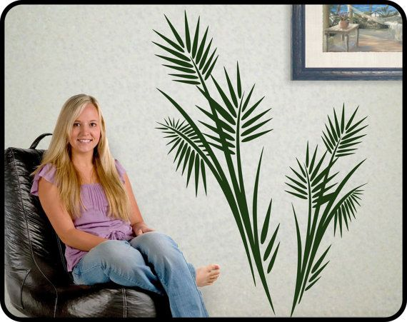 Large PALM TREE Wall Decal Vinyl   Tropical Wall Decor, Vinyl Frawn Leaves  Sticker.