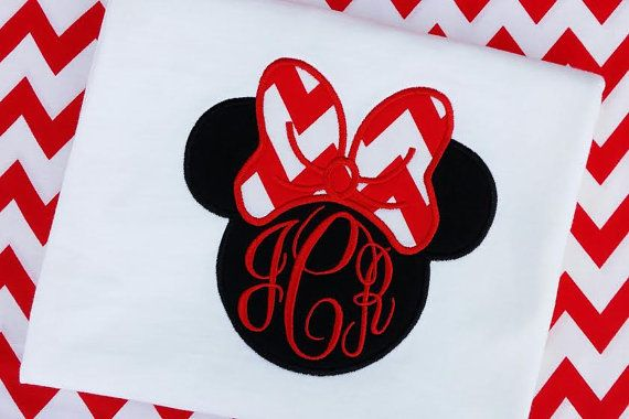 Minnie Mouse girls t-shirt red chevron bow on a black Minnie Mouse silhouette , Monogram embroidered , Disney ourfit