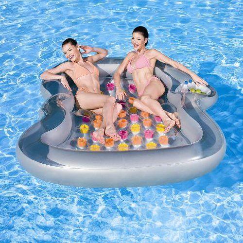 NEU-riesige-Luftmatratze-Double-Lounge-220m-x-185m-Schwimminsel-Wasserspielzeug-Liege-baden-Wasserequipment