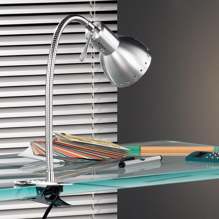 Silberfarbene Klemmleuchte für den Schreibtisch mit Flexhals