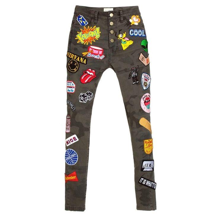 Foto e-commerce para Not Your Basic Denim - Calça Skinny High Waisted Camuflada Patch - NYBD