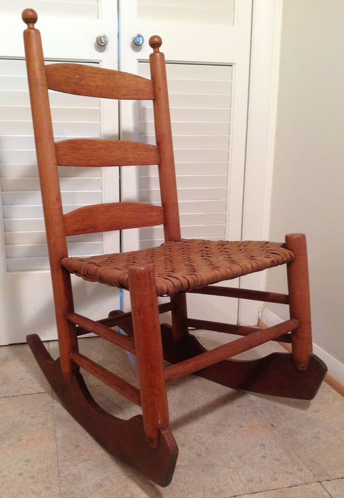 Antique oak rocking chair rocking chairs - Antique Vintage Sled Rocking Chair W Caned Rattan Seat Oak
