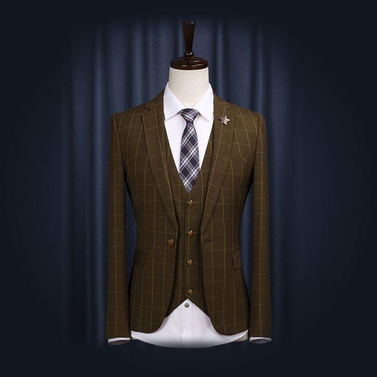 Free Shipping 2014 Autumn Men Business Dress Wedding Suits High Quality No-Iron Blazer Man Apparel Retro England Style Slim