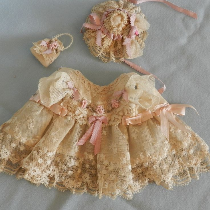 """French Tulle Lace Antique Mignonette Doll Dress Hat Purse for 8 """" 9 """" Doll 
