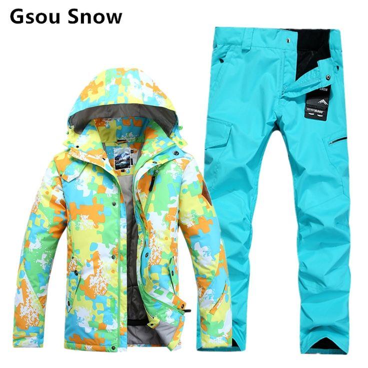 170.09$  Buy here - Winter waterproof warm men's ski and snowboard suits GSOU SNOW ski jacket pants men ski hombre ski clothing  #shopstyle
