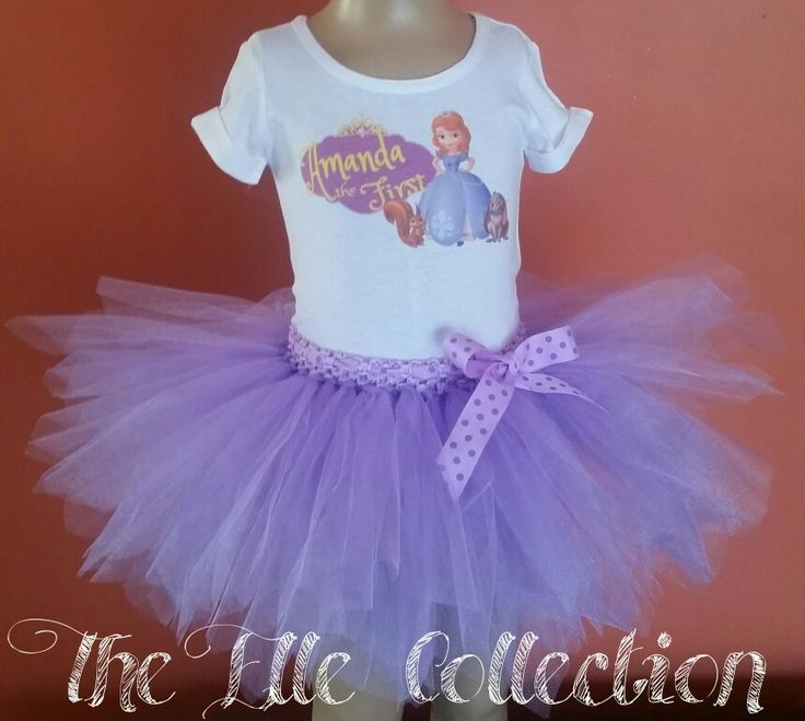 Sofia the first tutu skirt with personalized shirt custom made by the Elle Collection in South Africa.  To order email Karin on theellecollection13@gmail.com