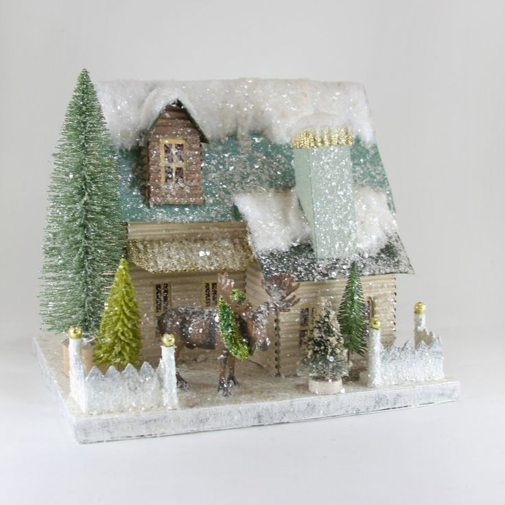 """North Woods Living   Beautiful cardboard house with sparkles and glitter   12.5""""W x 9.5""""D x 10""""H"""