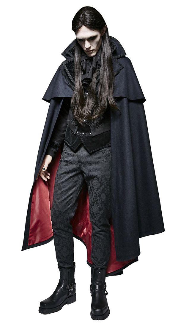 Aristocrat Punk Rave Cape, vampire coat deep blue and red