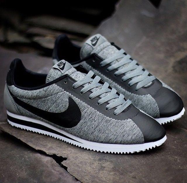 Black and gray Nike Fleece  Nike Cortezs in 2019  Nike
