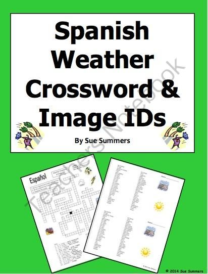 spanish weather crossword puzzle worksheet and vocabulary from sue summers on teachersnotebook. Black Bedroom Furniture Sets. Home Design Ideas