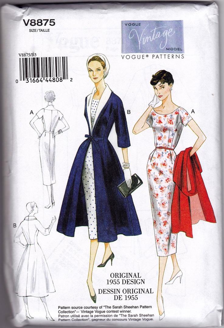 50s Dress Vintage Pattern Reprint - Vogue 8875
