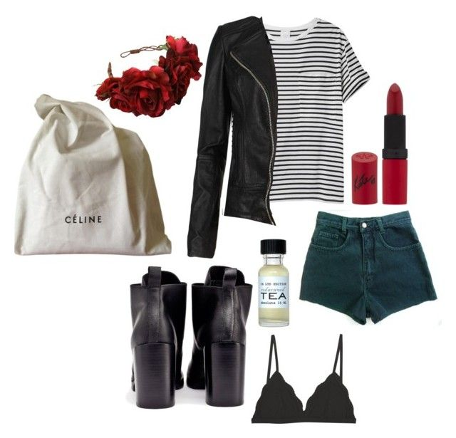"""""""Celine me alone"""" by sophie-lawrence ❤ liked on Polyvore featuring Cheap Monday, Cosabella, AR SRPLS, CÉLINE, CB I Hate Perfume, AllSaints and Rimmel"""