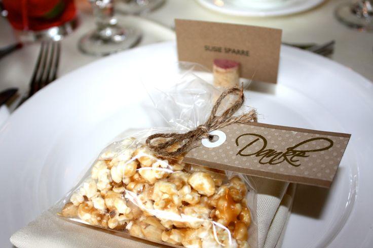 Caramel corn wedding favours
