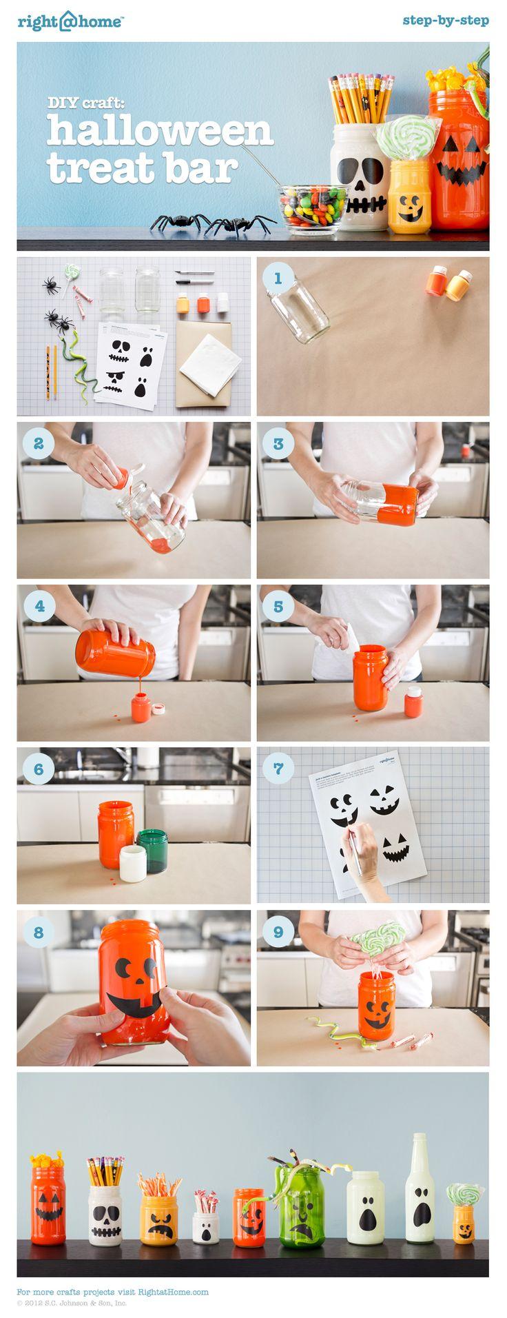 DIY Craft: Halloween Treat Bar - Put old jars to ghoulish good use.