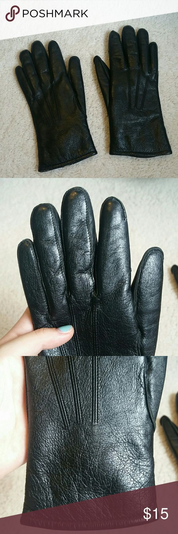 Black leather cut off gloves - Black Leather Gloves With Rabbit Fur Inside