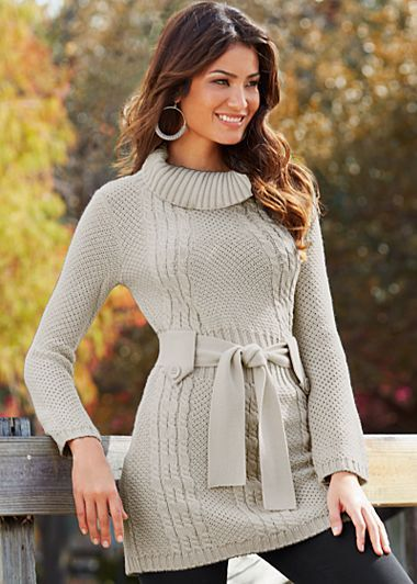 Stone (STNE) Long Sleeve Belted Sweater $27 Go ahead, indulge yourself in a relaxed turtleneck for your feminine fall look. ·  Cable knit trim detail   ·  Self tie belt   ·  100% Acrylic   ·  Imported