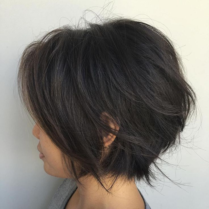 Short+Black+Layered+Bob