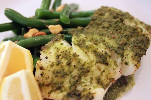 Oven Baked Sea Bass with Herb Pesto Sauce.  My husband would LOVE this