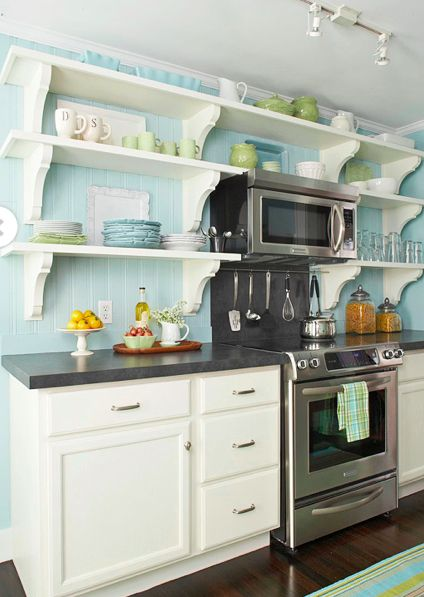 Small kitchen open shelving for a low cost high style for Low cost kitchen ideas