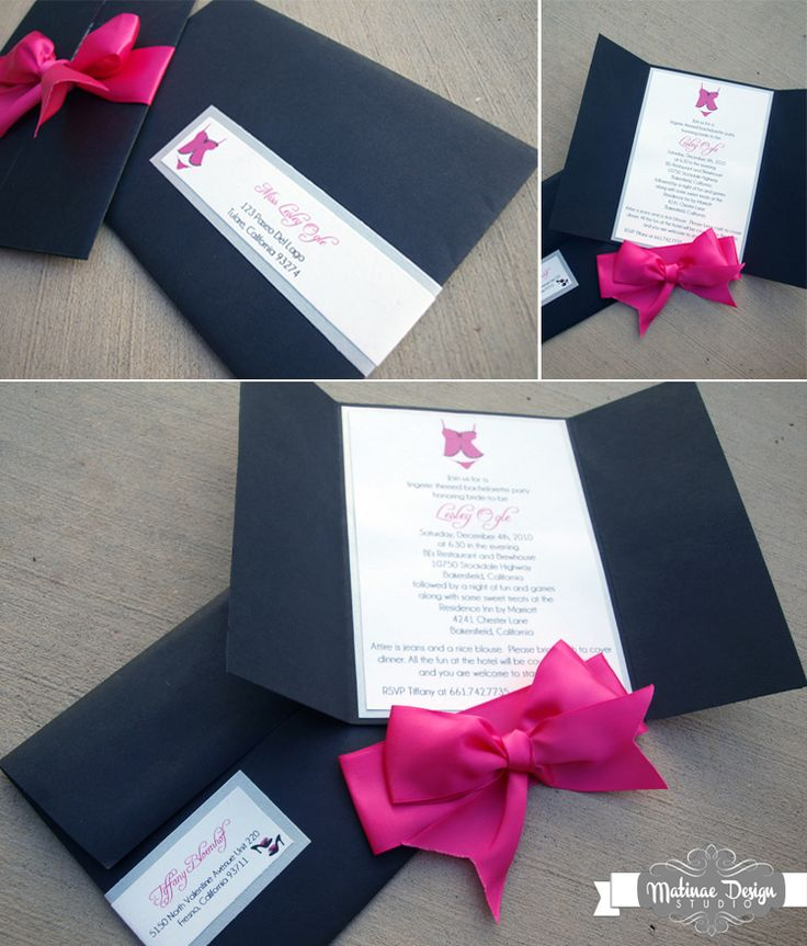Lingerie shower invitation in hot pink, black, and silver. Gatefold invitation with stain bow, lingerie graphics, and matching envelope with wrap label!