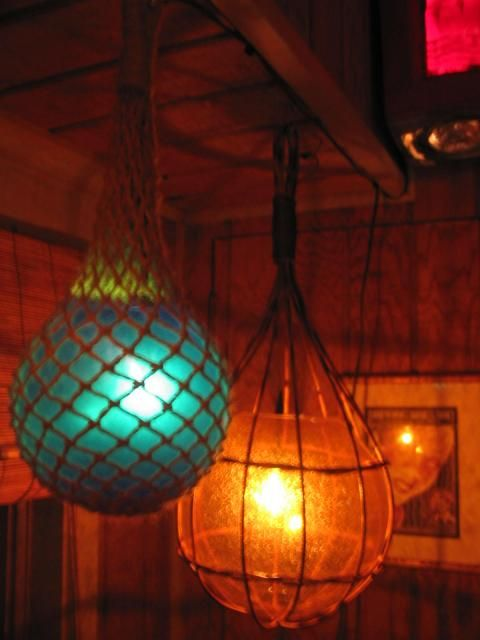 """TIKISKIP""TIKI Bar lights,FiSh Float Lamps, Kahiki rehab Hanging Swag. -- Tiki Central"