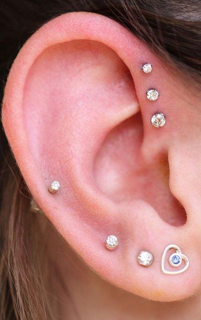 Cute Simple Ear Piercing Ideas at MyBodiArt.com - Crystal Triple Forward Helix Earring Studs    - Swarovski Crystal 16G Silver Internally Threaded Barbell Piercing – MyBodiArt