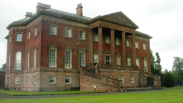 Tabley House, Knutsford, Cheshire. Tabley House was designed by John Carr of York for Sir Peter Byrne Leicester, Bt., and completed in 1769. His son, Sir John Fleming Leicester, Bt., later 1st Lord de Tabley, was the first great patron and collector of British paintings. He assembled a splendid collection at Tabley and in his London house during the first decade of the 19th Century, ultimately with the intention of establishing a National Gallery of British Art.
