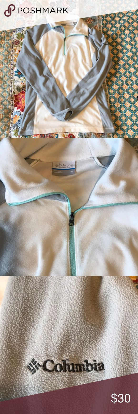 SUPER SOFT- Columbia 1/4 Zip Fleece Pullover NWOT- Womens Columbia quarter zip pullover sweater in white, grey with a Tiffany Blue zipper. No fraying, loose strings or pilling. SO SOFT and cozy! I may just have to keep it for myself! Columbia Tops Sweatshirts & Hoodies