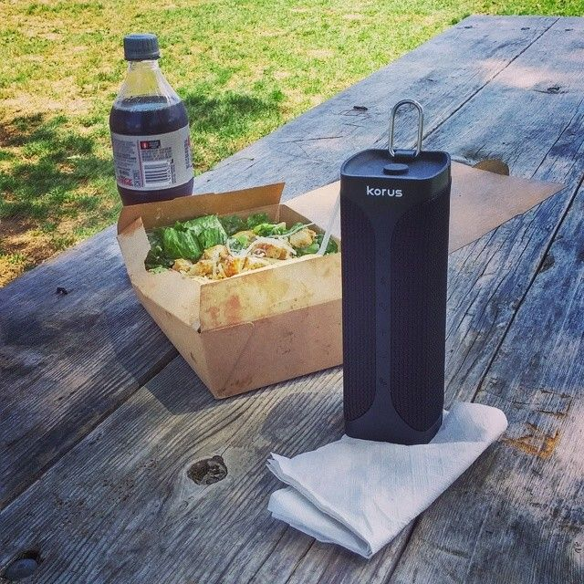 At lunch!  The Korus M20 not only sounds great, but also #multitasks as a napkin holder on windy days! #RedefiningAudio