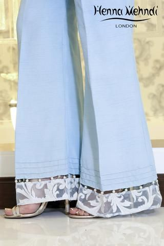 Ice Blue Embroidered & Embellished Trousers