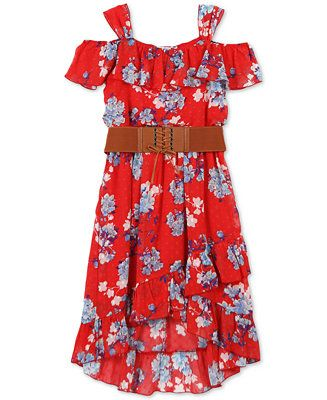 fd394632614d31 Shop Speechless Big Girls Floral-Print Ruffle-Trim Dress online at  Macys.com. Shoulder straps create a cold shoulder effect on this lovely  casual-chic ...
