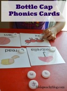 Bottle Cap Phonics Cards for Preschool and Pre-K. Fun activity for phonemic awareness. Makes a great Busy Bag! | Life is Peachy