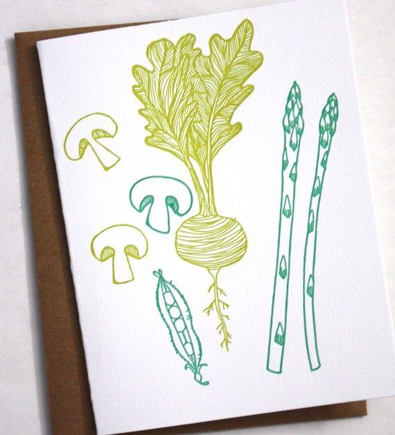 Veggie Cards Letterpress notecards. $12.00, via Etsy.