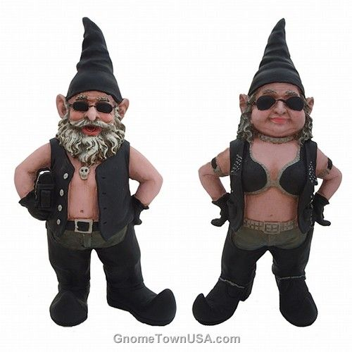 Garden Gnome couple dressed in leather motorcycle gear.