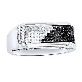 2/7 Ct Round Cut Black & D/VVS1 14K White Gold Over Band Engagement Men'S Ring # Free Stud Earring by JewelryHub on Opensky