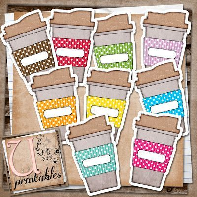 So cute - printable coffee mugs with labels. Could use these to put coffee giftcards in as gifts or use as gift tags for teacher appreciation baskets