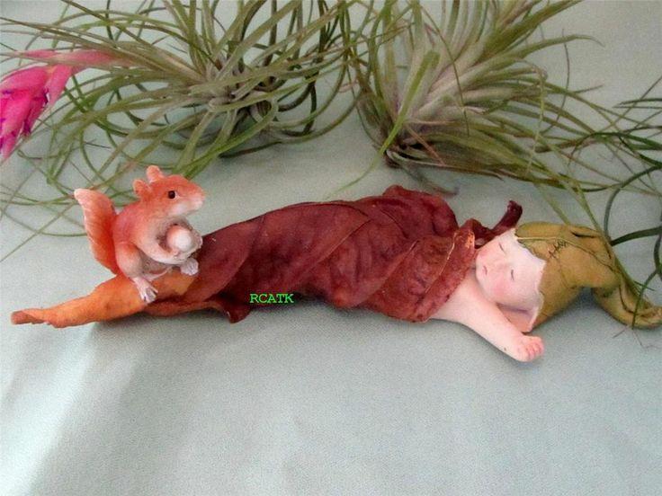 SLEEPING WOODLAND FAIRY BABY SQUIRREL LEAF Fairy Garden ...