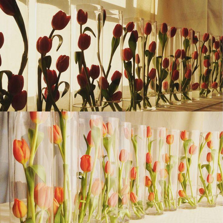 Centre de table - décoration tulipes - orange - Listen'Up
