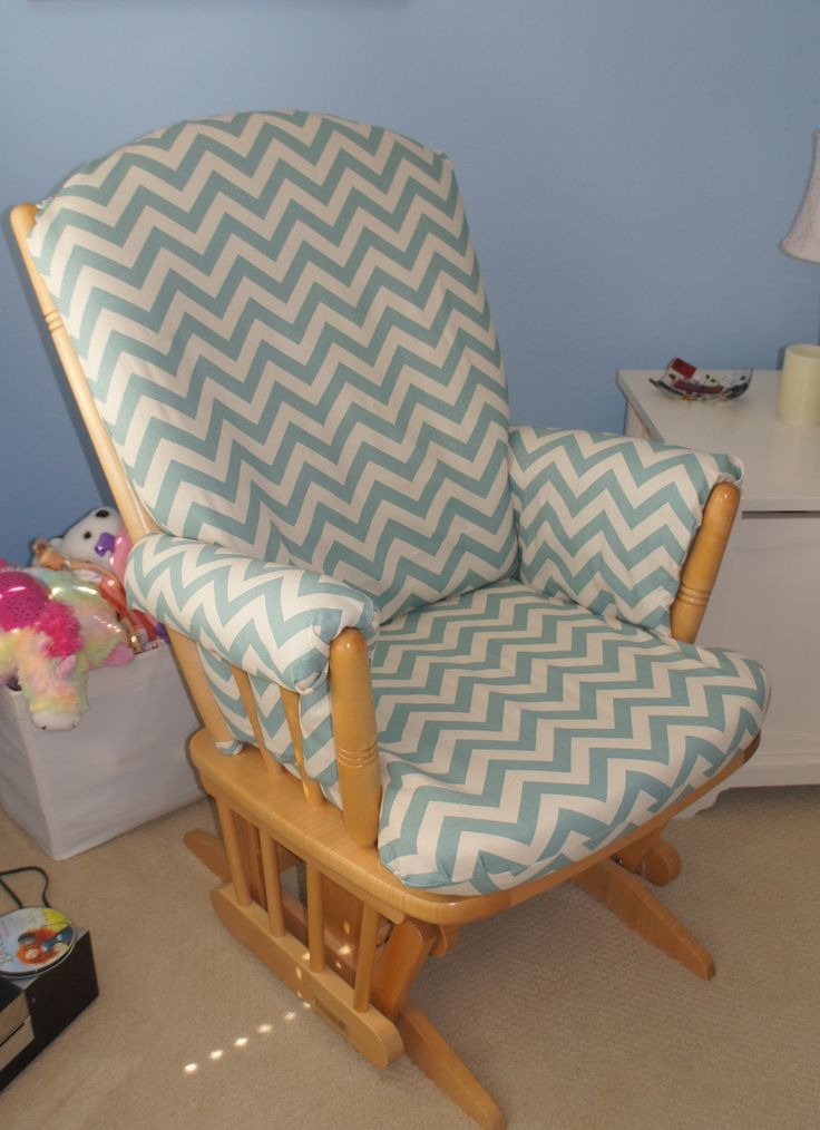 Glider rocking chair recovered with chevron print fabric...  Nursery ...