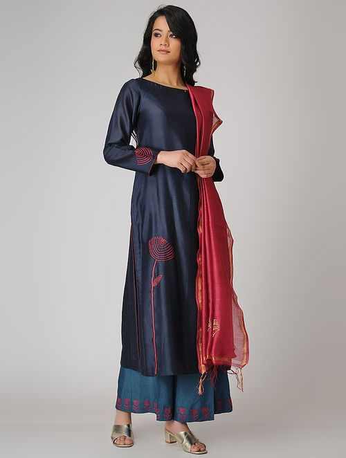 Buy Blue Embroidered Chanderi Kurta Online In 2019 Kurthis And