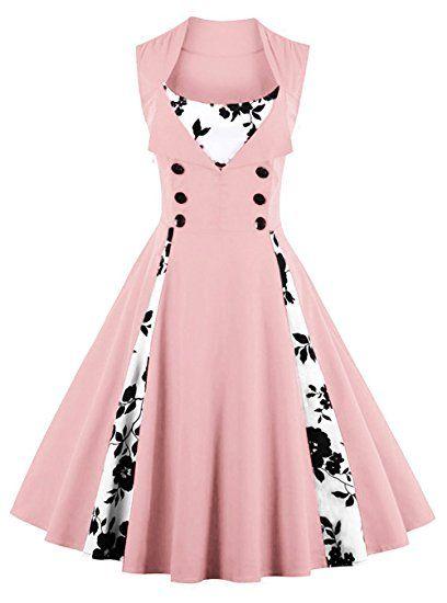 161cc684c7a2 Killreal Women's Vintage Rockabilly Floral Print Sleeveless Cocktail Party  Dress Pink XXXXX-Large