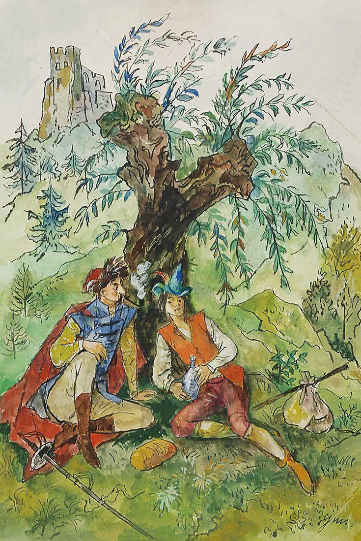 Jan Marcin SZANCER (1902-1973)  Odpoczynek pod drzewem - ilustracja tusz, akwarela, papier; 38 x 25,5 cm (wymiar arkusza),