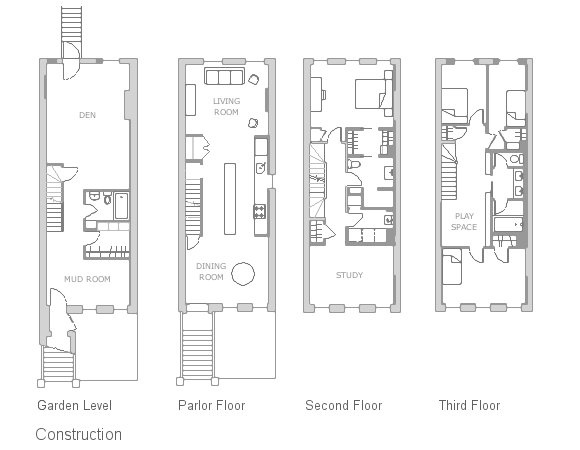 East Harlem Brownstone floor plan 16'x40' bldg