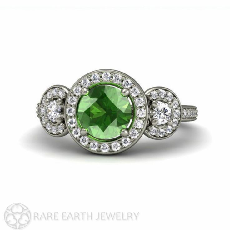 Green Sapphire Engagement Ring 3 Stone Round Green Sapphire Ring Diamond Halo Three Stone 14K or 18K Gold Custom Gemstone Ring by RareEarth on Etsy https://www.etsy.com/listing/154541649/green-sapphire-engagement-ring-3-stone