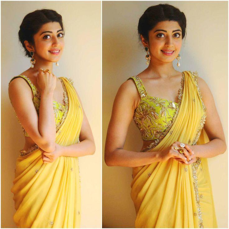 pranitha subhash in yelloe saree and designer blouse. 20 December 2016