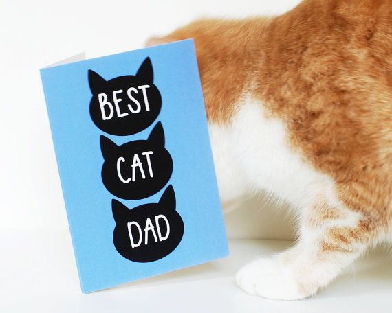 Card from the cat, Father's day fur baby card, best cat dad greetings card, UK cards for dad, fathers day funny card, cat dad, crazy cat man