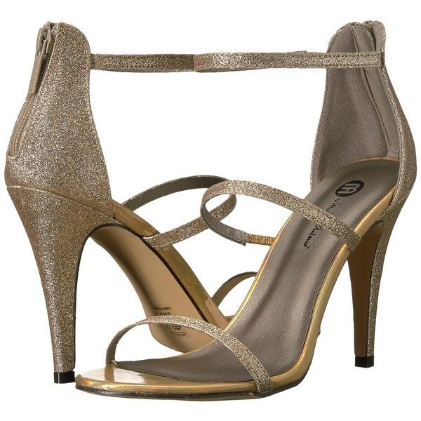 Michael Antonio Eden - Glitter (Nude) Women's Shoes ($20) ❤ liked on Polyvore featuring shoes, sandals, beige, strappy high heel sandals, beige dress sandals, slip on sandals, sexy strappy sandals and beige strappy sandals