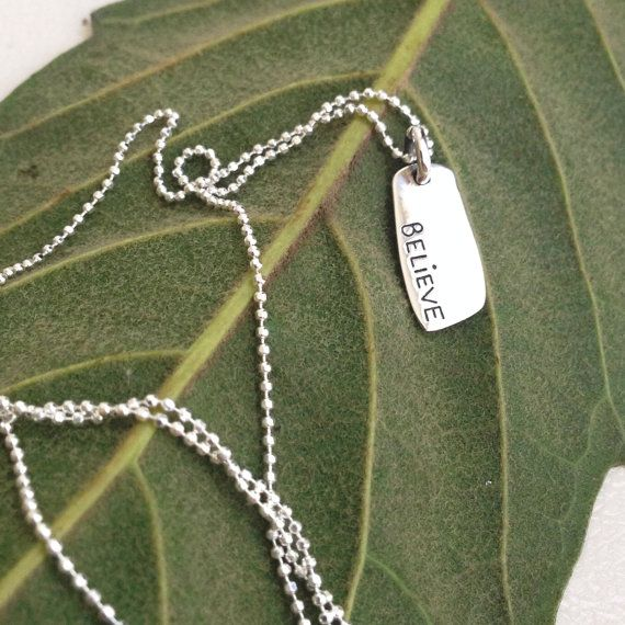 silver plate necklace  believe charm  written silver by LalipArt
