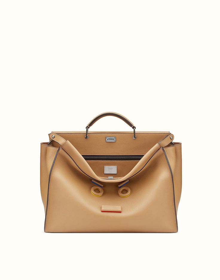 FENDI PEEKABOO - Bolso de piel de color arena - view 1 detail