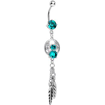 Enchanting Blue Zircon Gem Dangle Dreamcatcher Belly Ring #bodycandy #bellyring #dreamcatcher $9.99